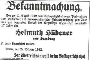 Notice of Helmuth Hübener's execution